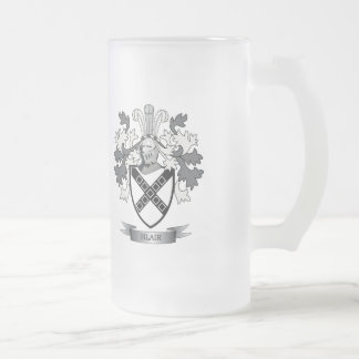 Blair Family Crest Coat of Arms Frosted Glass Beer Mug