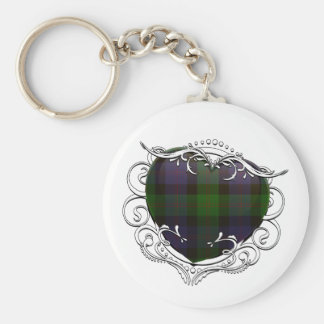 Blair Tartan Heart Basic Round Button Keychain
