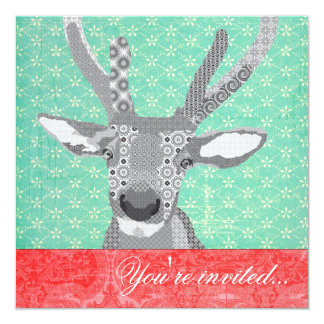 """Blak & White Reindeer Turquoise Red 5.25"""" Square Invitation Card"""