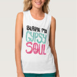 Blame My Gypsy Soul Watercolor Peace Sign Tank Top