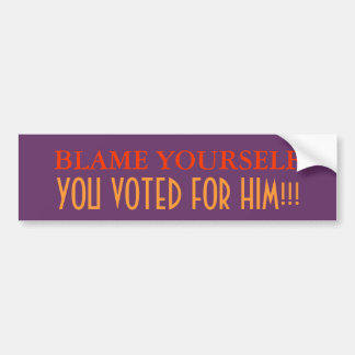 Blame Yourself, you voted for him Bumper Stickers