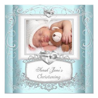 Blanc bleu de croix de baptême de baptême de fille carton d'invitation  13,33 cm