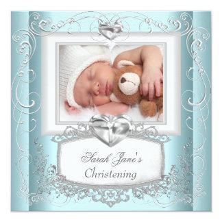 Blanc bleu de croix de baptême de baptême de fille invitations personnalisées