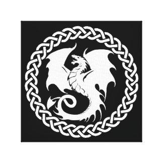 Blanc celtique de noir de dragon de cercle toiles