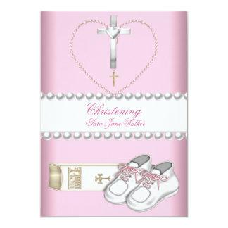 Blanc de rose de fille de baptême de baptême carton d'invitation  12,7 cm x 17,78 cm