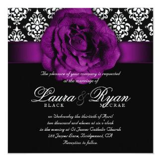 Blanc élégant de noir de rose de pourpre de carton d'invitation  13,33 cm