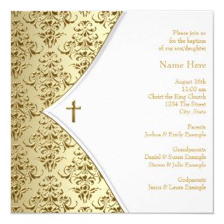 Blanc et baptême croisé d'or invitations personnalisables
