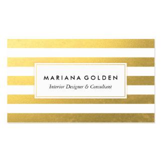 Blanc et carte de visite de rayure de feuille d'or
