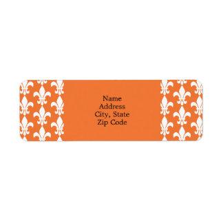 Blanc et Orange Fleur de Lis Pattern Étiquettes D'adresse Retour