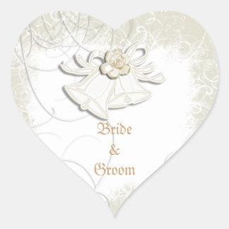 Blanc floral de mariage des cloches d'église n autocollants en cœur