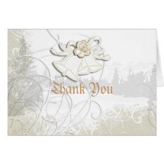 Blanc floral de mariage des cloches d'église n carte de correspondance