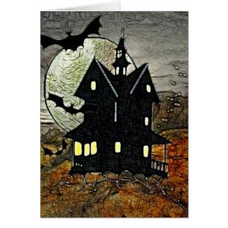 BLANC hanté éffrayant d'art d'horreur de bâti Cartes De Vœux