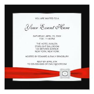 Blanc noir et rouge toute l'occasion carton d'invitation  13,33 cm