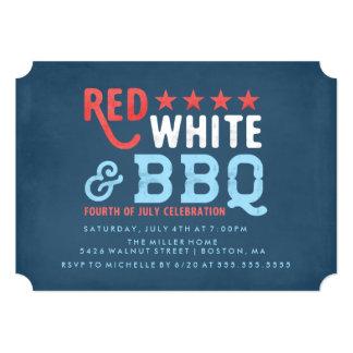 Blanc rouge et quatrième de BBQ | de juillet Carton D'invitation 12,7 Cm X 17,78 Cm