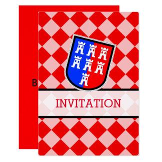 Blanc, rouge, noir carton d'invitation 8,89 cm x 12,70 cm