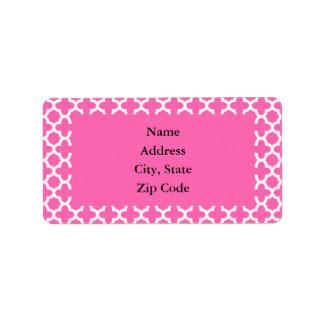 Blanc sur le motif de Quatrefoil de roses indien Étiquettes D'adresse