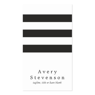 Blanc vertical moderne rayé noir et blanc frais carte de visite standard