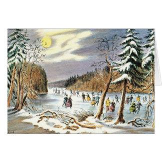 Blanc vintage démodé de carte de Noël à