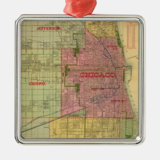 Blanchard's map of Chicago and environs Metal Ornament