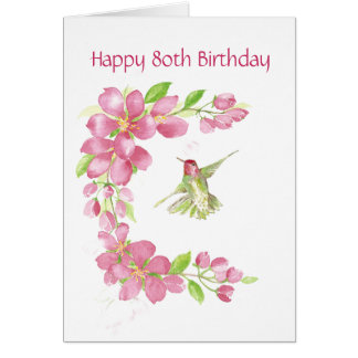 Blank 80th Birthday Cherry Blossom & Hummingbird Card