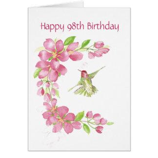 Blank 98th Birthday Cherry Blossom & Hummingbird Card
