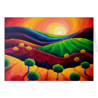 Blank Art greeting card, original art sunset Card