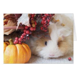 Blank Autumn Scene Guinea Pig Greeting Card