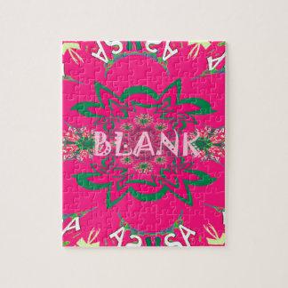 Blank baby vivid pink floral purple shade monogram jigsaw puzzle