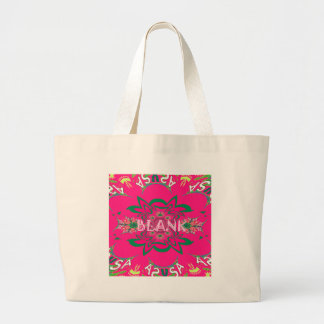 Blank baby vivid pink floral purple shade monogram large tote bag