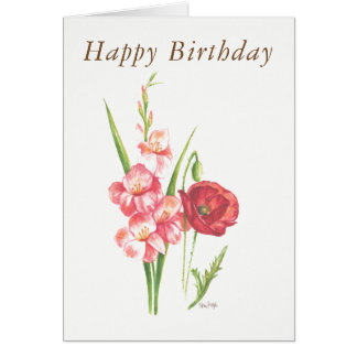 Blank birthday card August birth flowers