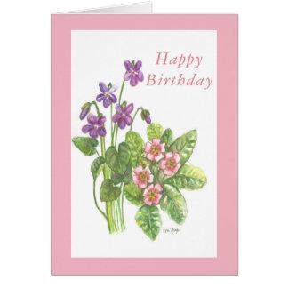 Blank birthday card February birth flowers