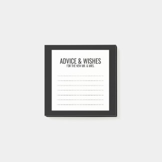 Blank Black and White Wedding Advice and Wishes Post-it® Notes