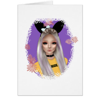 Blank Bunny Girl Cards