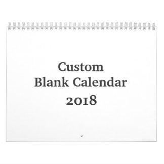 Blank Calendar 2018 - Custom With Holidays