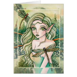 Blank Card - Green Dragonfly