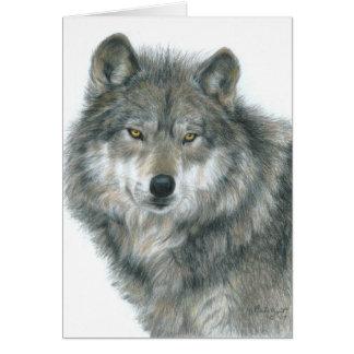 """Blank Card """"Haunted Eyes"""" Original Wolf Art"""