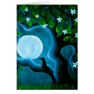 blank card, moon and tree, visual lifesavers art card