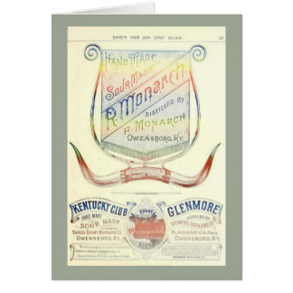 Blank card with historic 1893 whiskey label