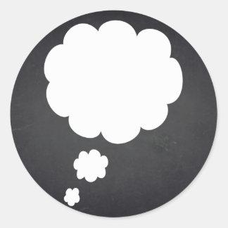 Blank  Chalkboard Customize Text Talk Bubble Classic Round Sticker