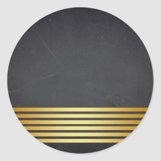 Blank  Chalkboard Gold Striped Customize Text Classic Round Sticker