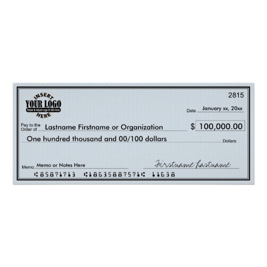 Blank Check for Sweepstakes & Awards Poster