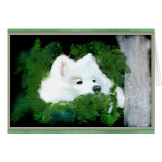 Blank Custom Greeting Card; Samoyed in the Garden Card