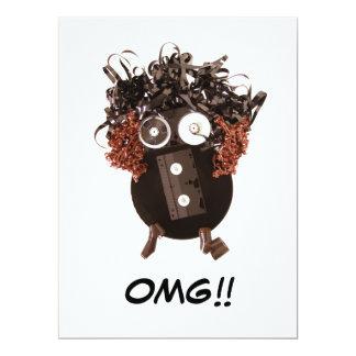 """Blank Cute Cool Humorous OMG Analog Media 6.5"""" X 8.75"""" Invitation Card"""