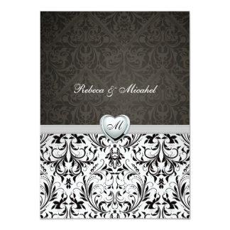 Blank Elegant Damask Monogram Wedding Invites