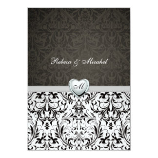 "Blank Elegant Damask Monogram Wedding Invites 4.5"" X 6.25"" Invitation Card"