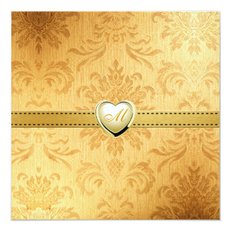 "Blank Elegant Gold Vintage Monogram Wedding invite 5.25"" Square Invitation Card"