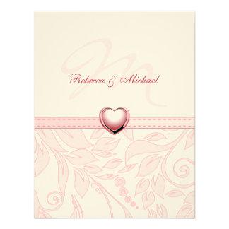 Blank Elegant Pink Monogram Wedding Invites