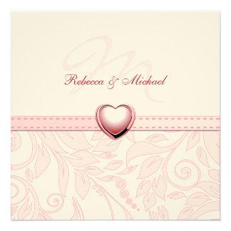 Blank Elegant Pink Monogram Wedding Invitess Personalized Invites