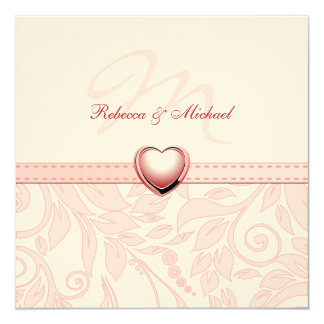 "Blank Elegant Pink Monogram Wedding Invitess 5.25"" Square Invitation Card"