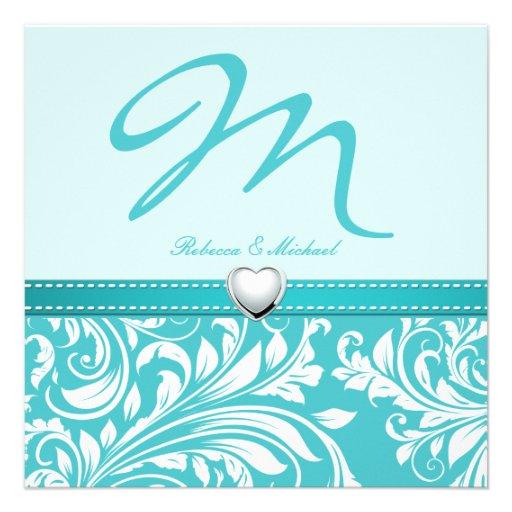 Blank Elegant Teal Monogram with Platinum Heart Personalized Invitations